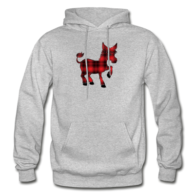 Buffalo Plaid Donkey Hoodie - heather gray
