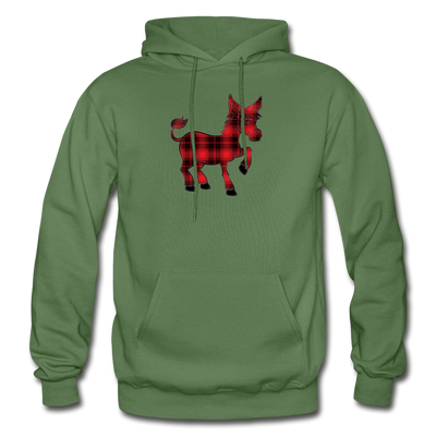 Buffalo Plaid Donkey Hoodie - military green
