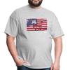 American Flag with Donkey T-Shirt - heather gray