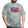American Flag with Donkey T-Shirt - grey tie dye