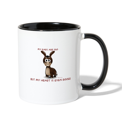 My Ears Are Big But My Heart Is Bigger Coffee Mug - white/black