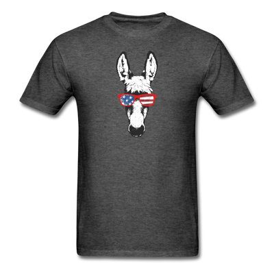 Patriotic Donkey T-shirt with Cool Stars & Stripes Sunglasses - heather black
