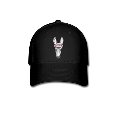 Donkey Baseball Cap - Donkey Wearing A Floral Wreath - black