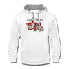 Cute Christmas Gnome & Donkey Contrast Hoodie - white/gray