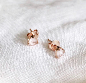 Rose Quartz Mini Stud Earrings - Black Mint Clothing