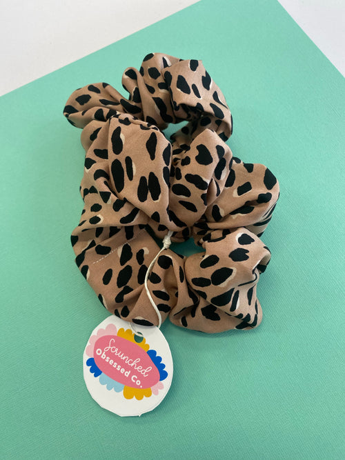 Scrunched Obsessed - Large Beige Leopard - Black Mint Clothing