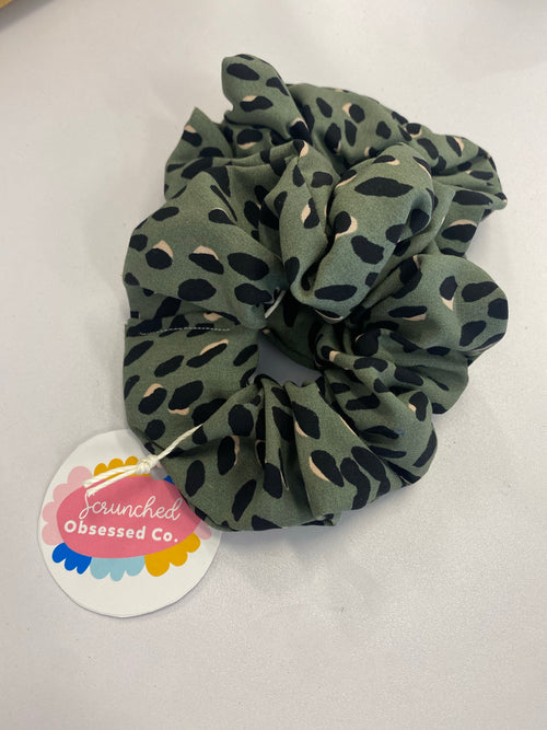 Scrunched Obsessed - Large Khaki Leopard - Black Mint Clothing