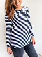 Annie Basic Long Sleeve - Navy & White - Black Mint Clothing