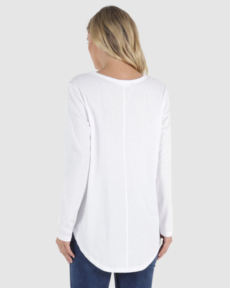 Megan Long Sleeve Top - White - Betty Basics - Black Mint Clothing