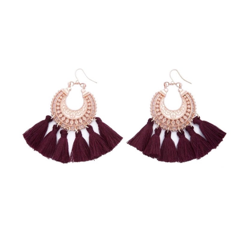 Tassel Earrings - Burgundy - Black Mint Clothing