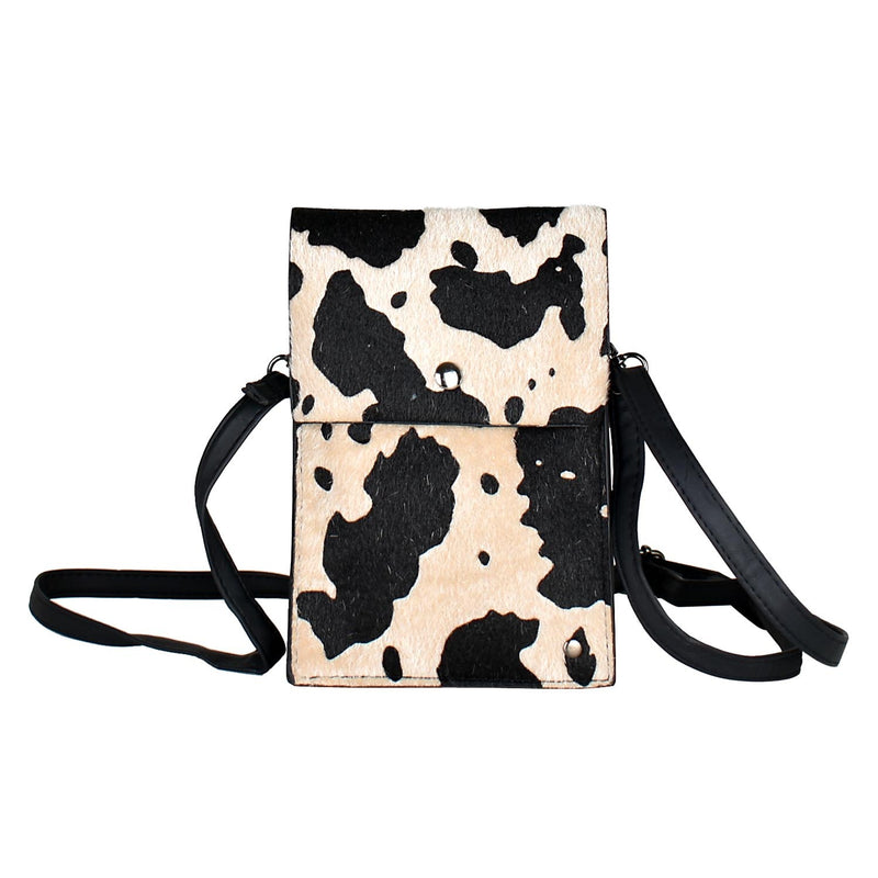 Cow Print Cross Body Bag - Black Mint Clothing