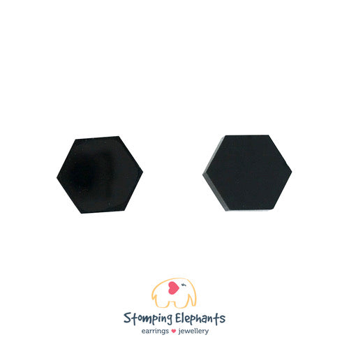 Black Hexagon Earrings - Black Mint Clothing