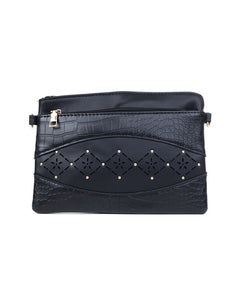 Studded Clutch Bag - Black - Black Mint Clothing