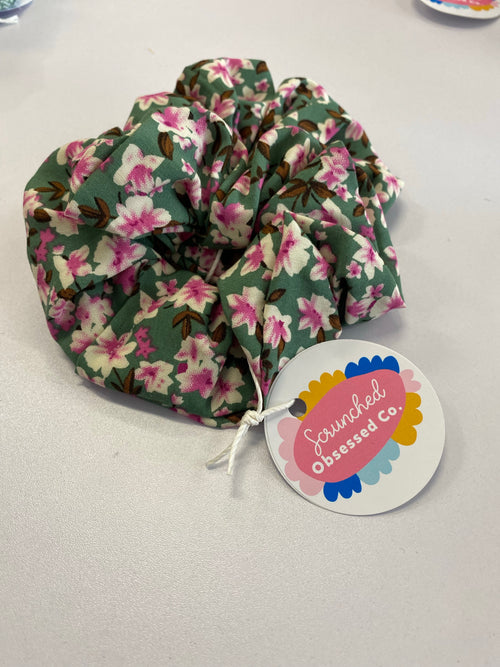 Scrunched Obsessed - Pink & Green Floral - Black Mint Clothing