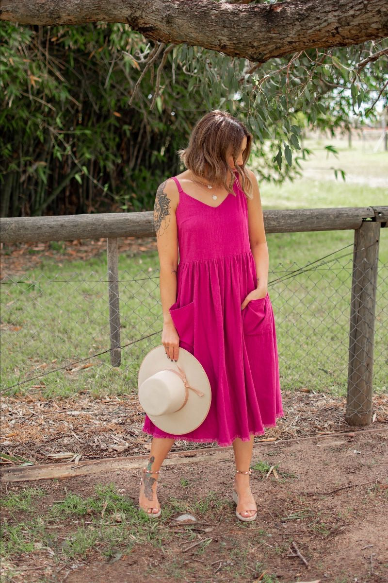 Petra Linen Dress - Magenta - Black Mint Clothing