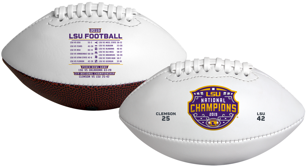 2019 College National Champions LSU Tigers White Panel Football