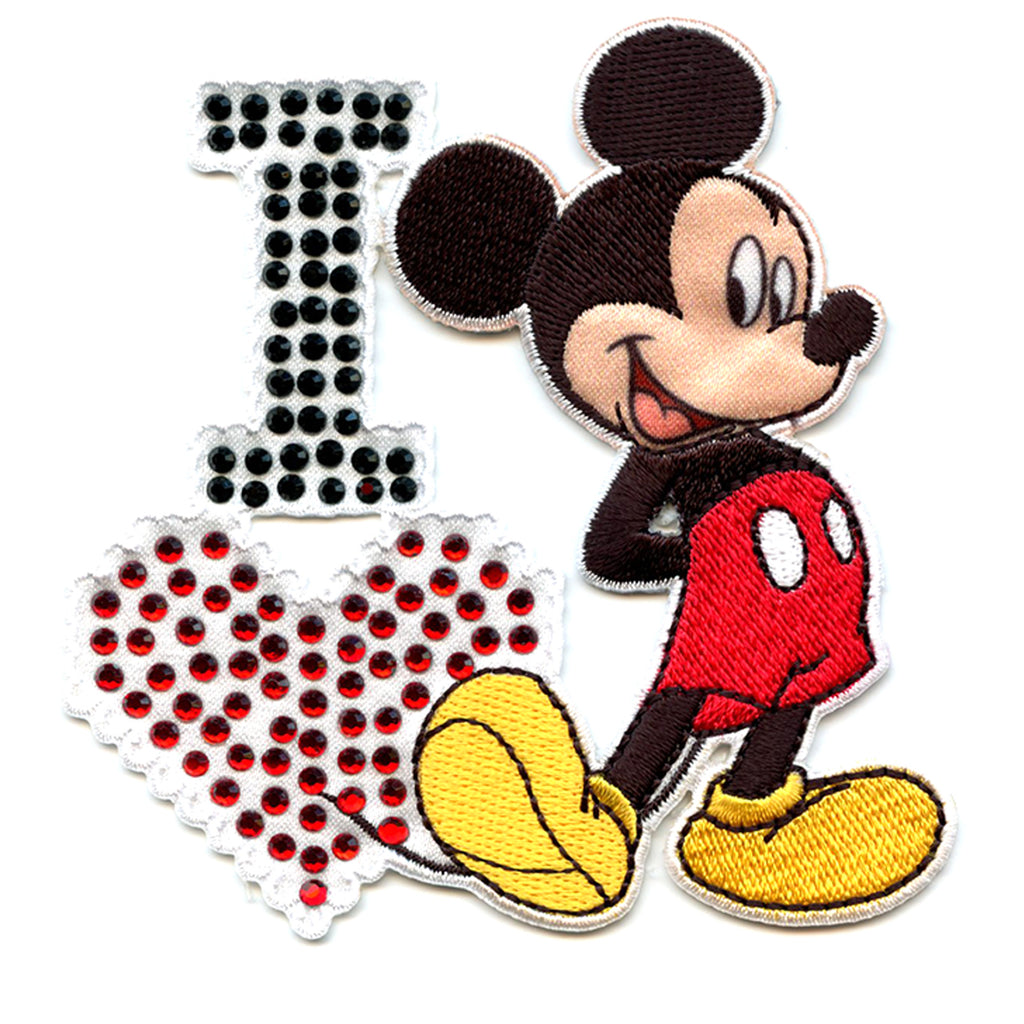 Disney I love Mickey Mouse Iron on Embroidered Applique Patch