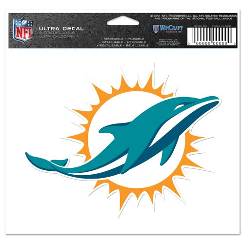 2013 Miami Dolphins Team Logo Ultra Decal 5 x 6