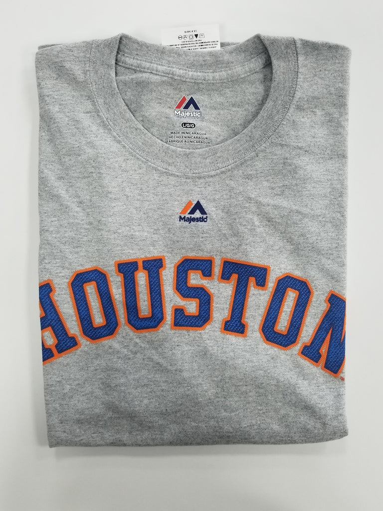 Houston Astros Light Grey Men's Crew Neck Short Sleeve Large T-Shirt