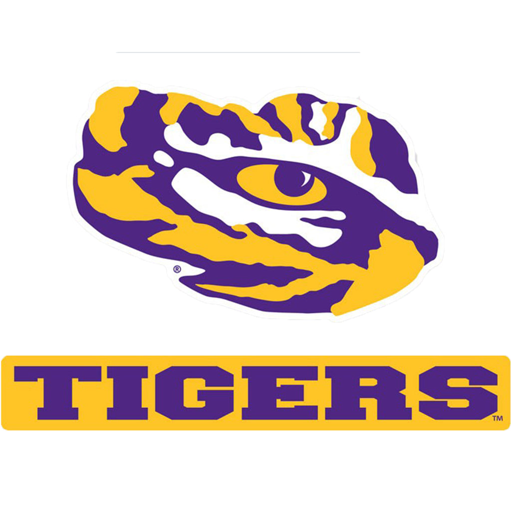LSU Tigers Darth Script Logo Perfect Cut Decal (Colored)