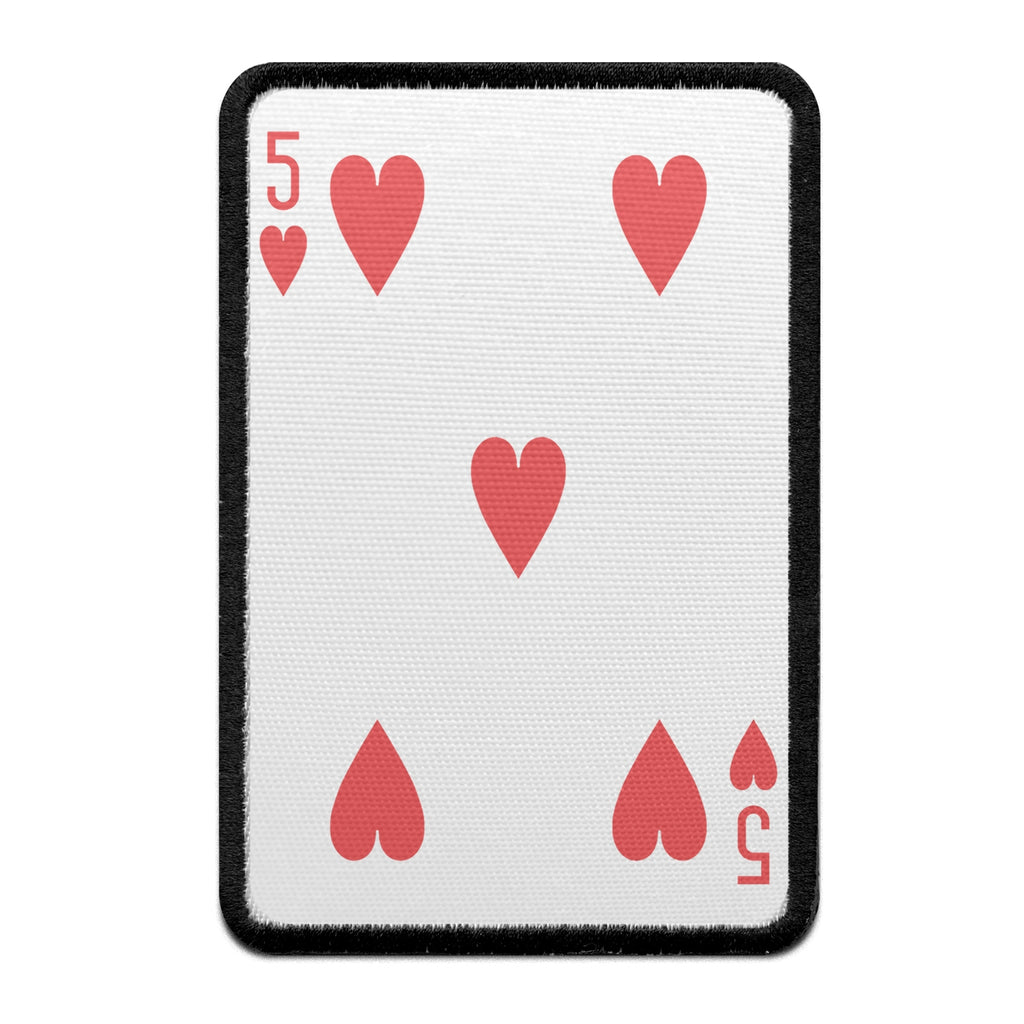Five Of Hearts Card Embroidered Iron-on Foto Patch