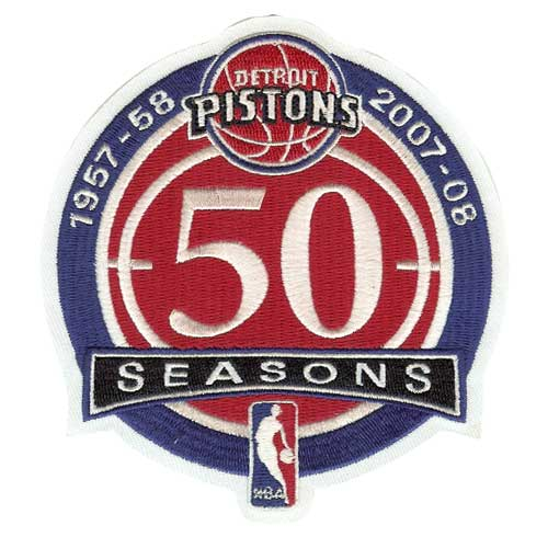 Detroit Pistons 50th Anniversary Logo Warm Up Jersey Patch (2007-08)