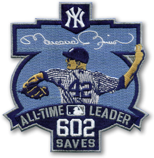 New York Yankees Mariano Rivera 602 Saves All-Time Leader Patch (2011)