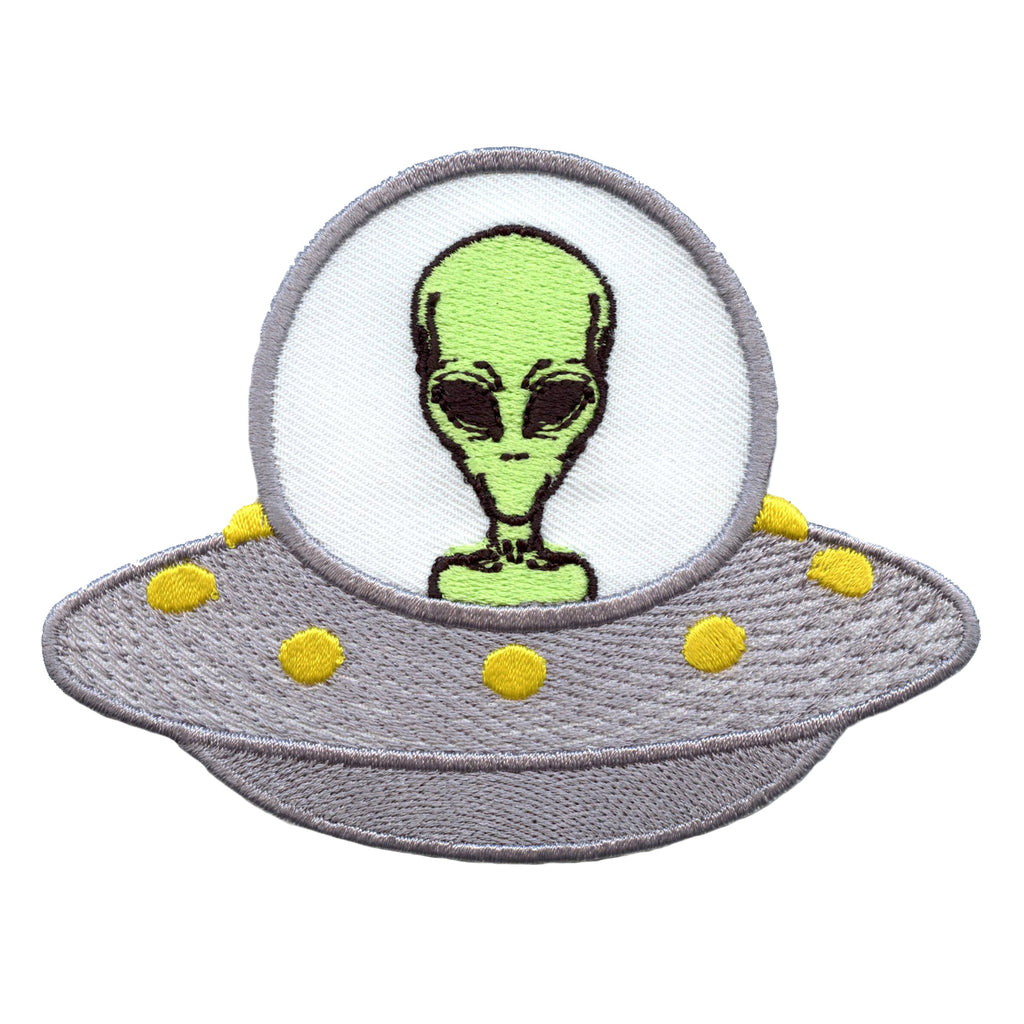 Alien In UFO Ship Embroidered Iron On Patch