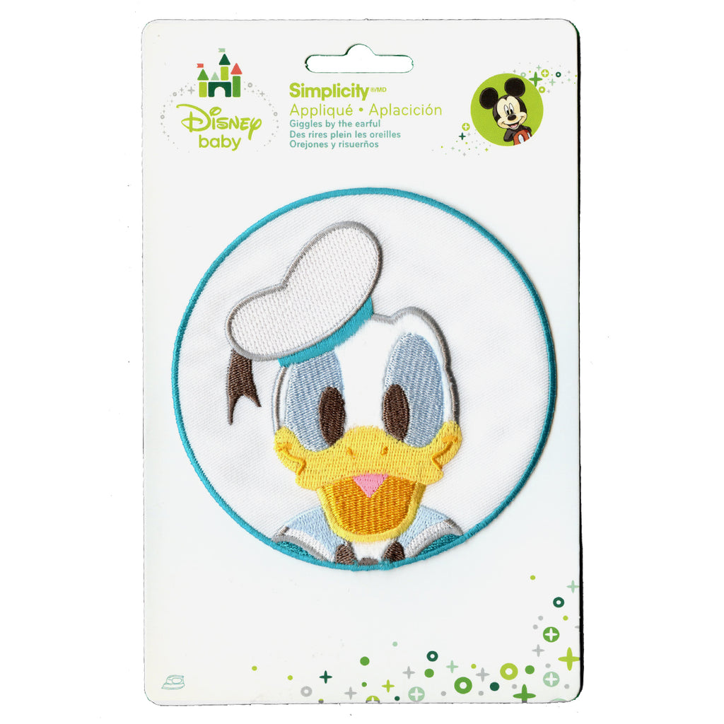 Disney Donald Duck In Blue Circle Embroidered Applique Iron On Patch