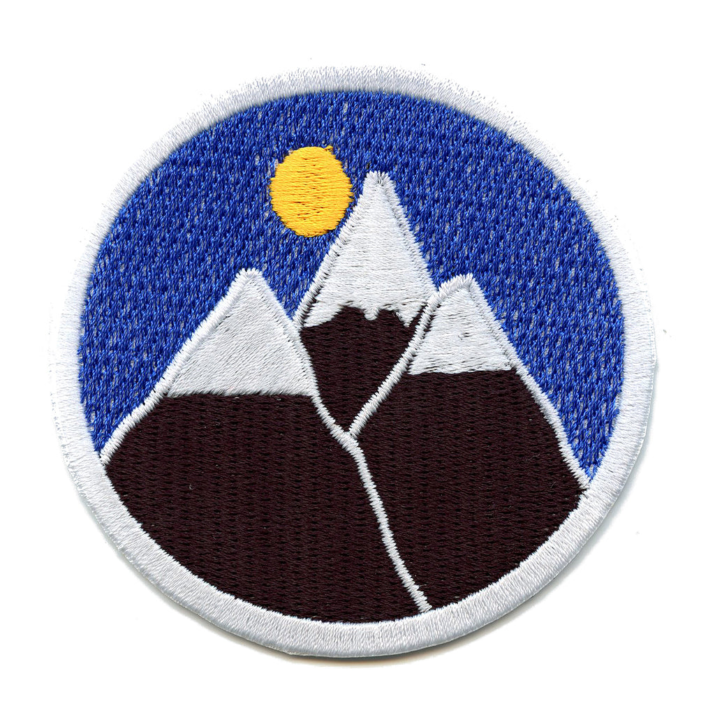 Mountains In The Night Sky Round Iron On Patch
