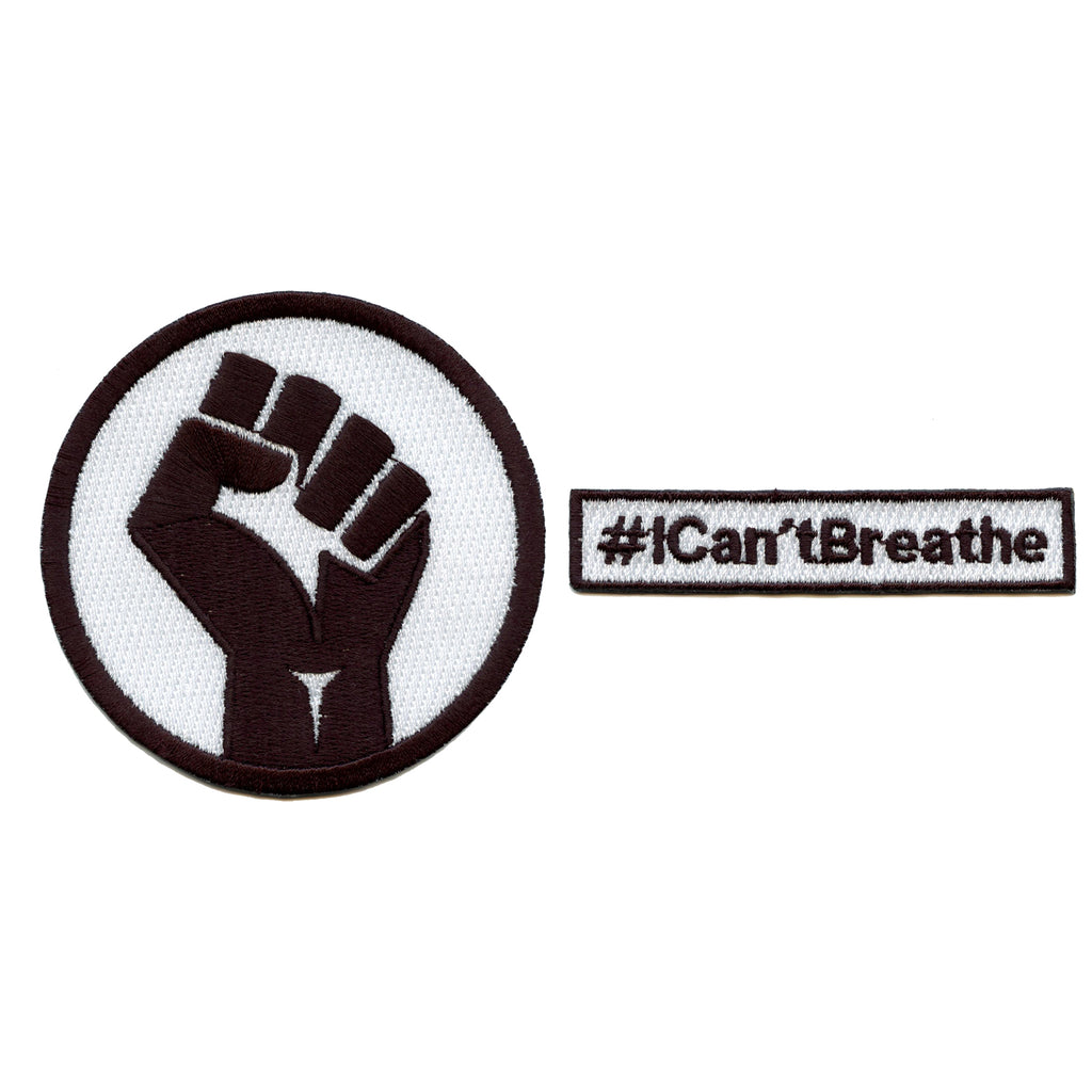 Black Power Fist & #ICan'tBreathe Box Logo Combo Embroidered Iron On Patches
