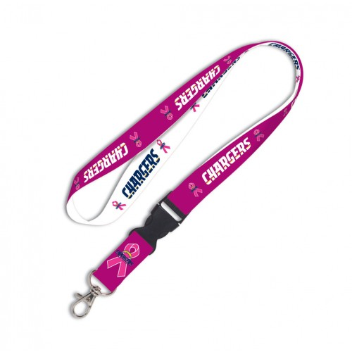 Los Angeles Chargers Breast Cancer Awareness Pink Ribbon Detachable Lanyard