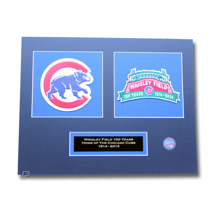 "Matted 11"" X 14"" 2014 Chicago Cubs Wrigley Field's 100th Anniversary & Sleeve Patch Collection"