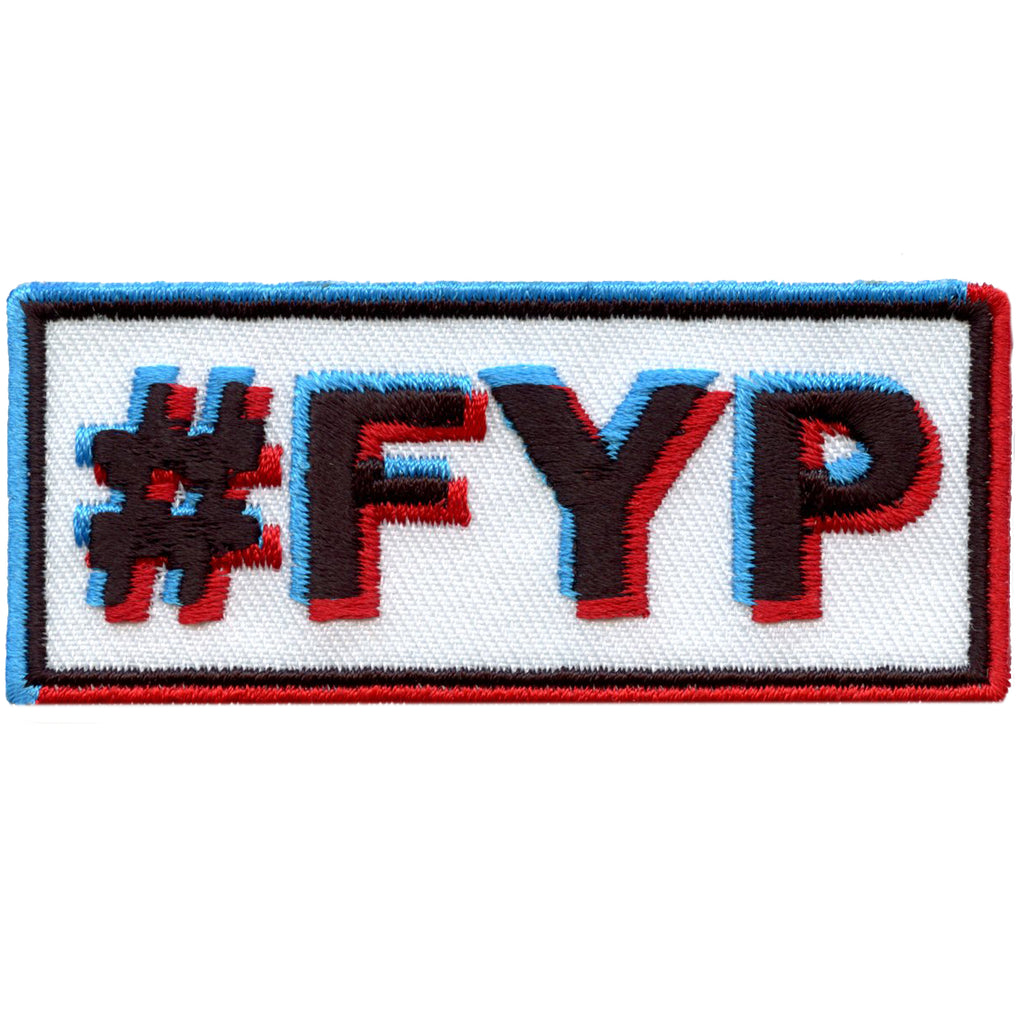 "For You Page ""#FYP"" Glitch Text Embroidered Iron On Patch"