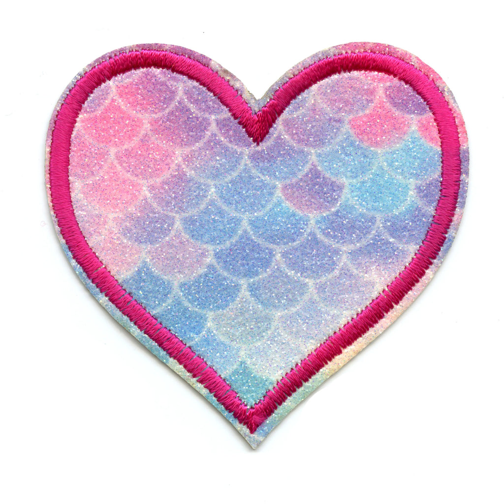 Heart With Blue Rainbow Scales & Pink Border Iron On Glitter Sparkle Patch Bling
