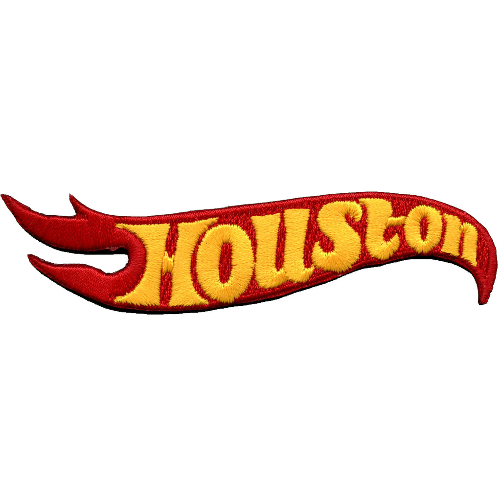 Houston Flame Embroidered Iron On Patch