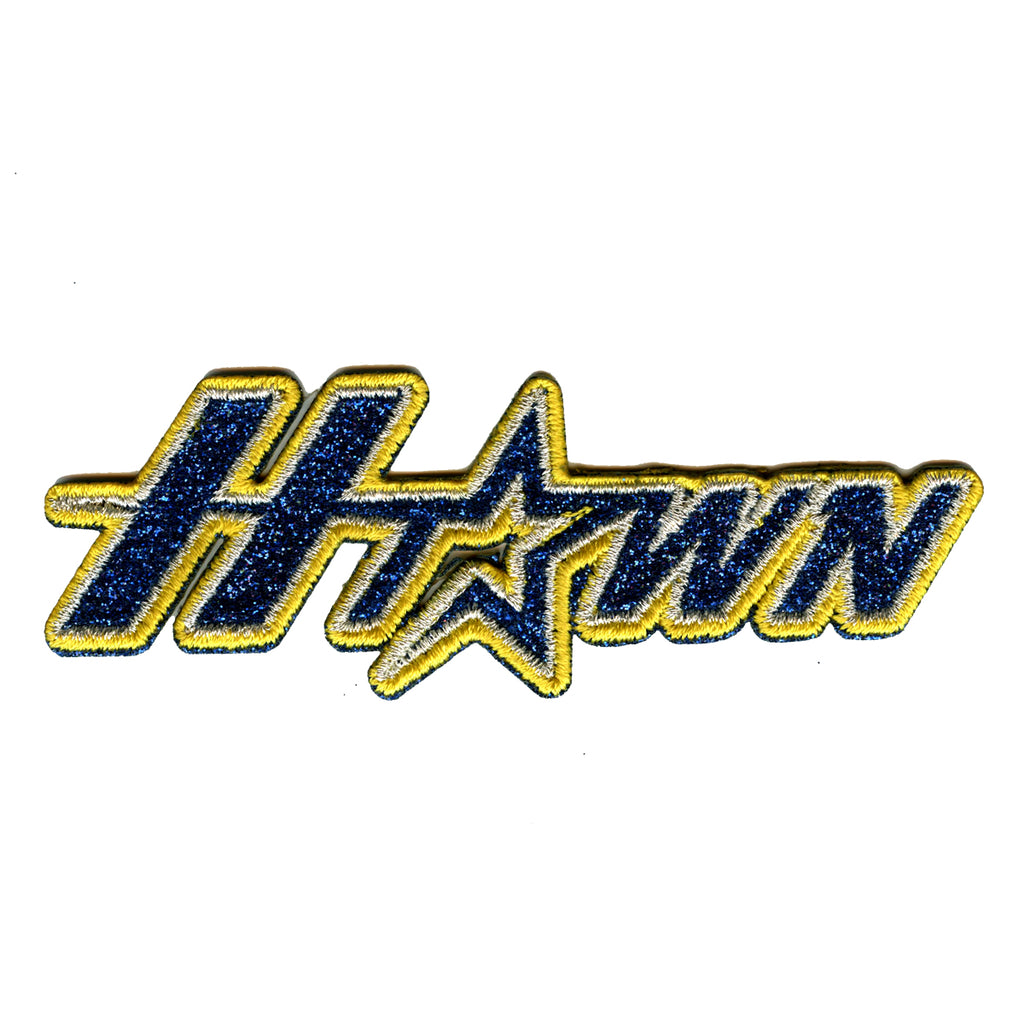 H-Town Houston Baseball Team Parody Iron On Glitter Sparkle Patch Bling