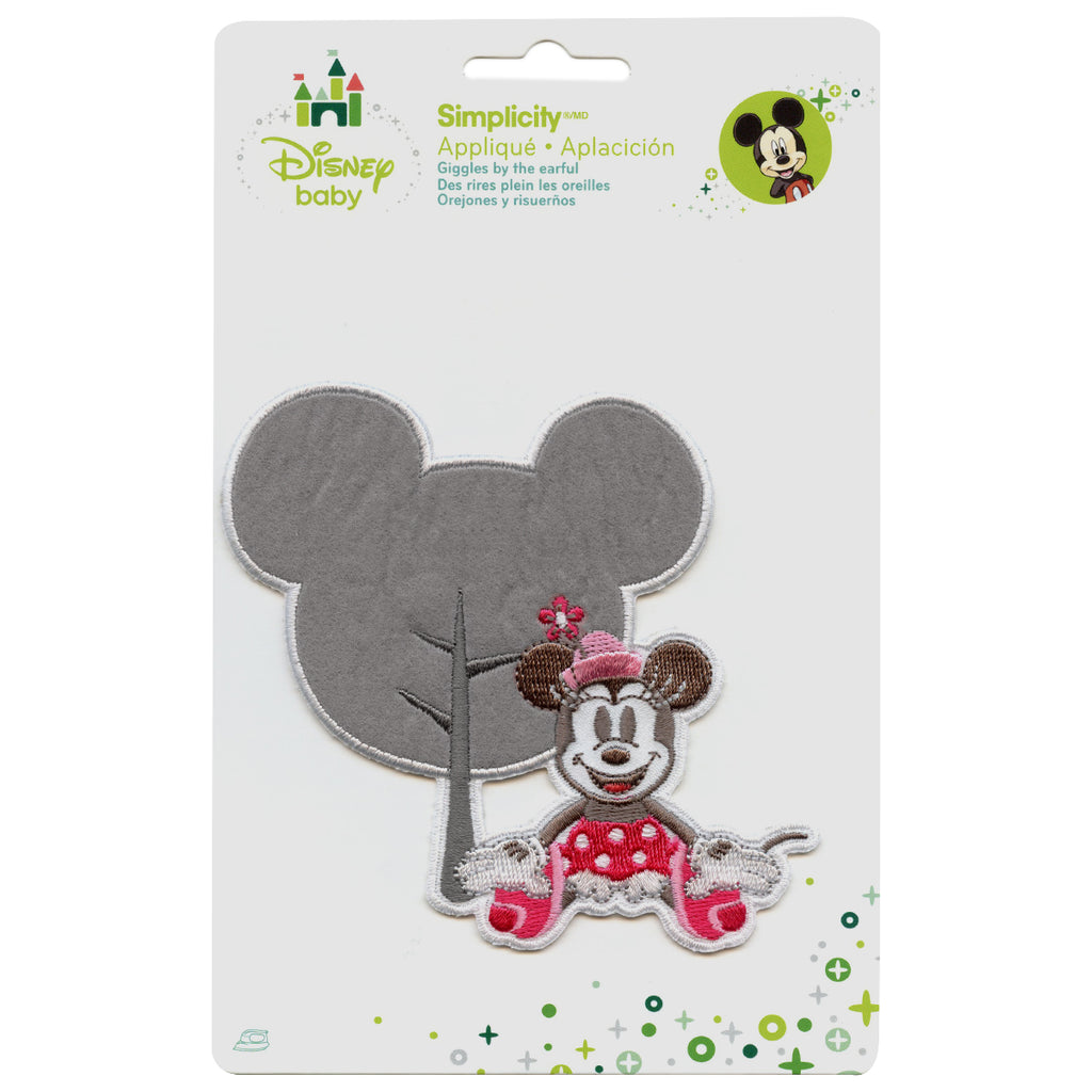 Disney Minnie Mouse With Head Shape Embroidered Applique Iron On Patch