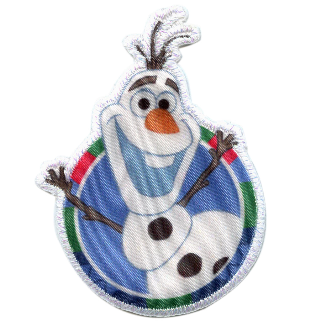 Disney Frozen Olaf Round Logo Embroidered Applique Iron On Patch