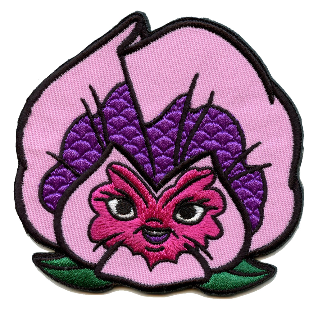 Official Alice In Wonderland Purple Pansy Embroidered Iron On Patch
