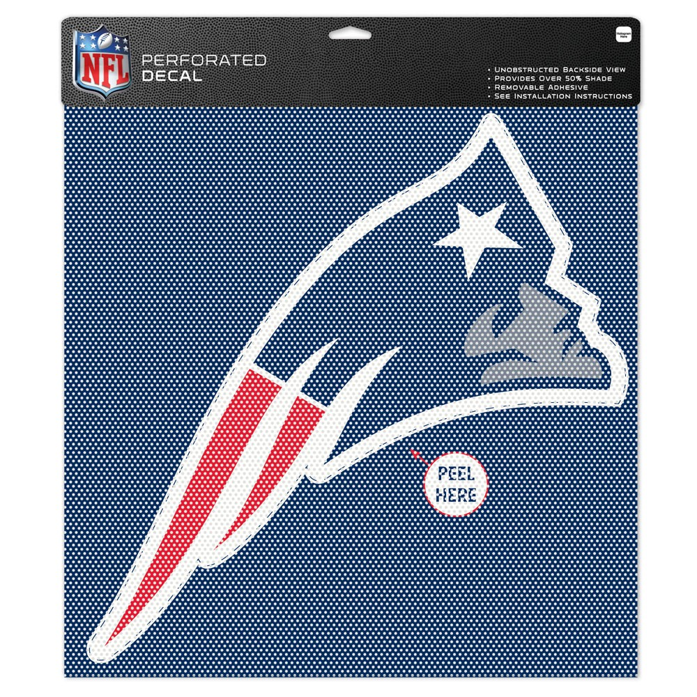 "New England Patriots Team Logo Perforated Decal 17""T x 17""W"
