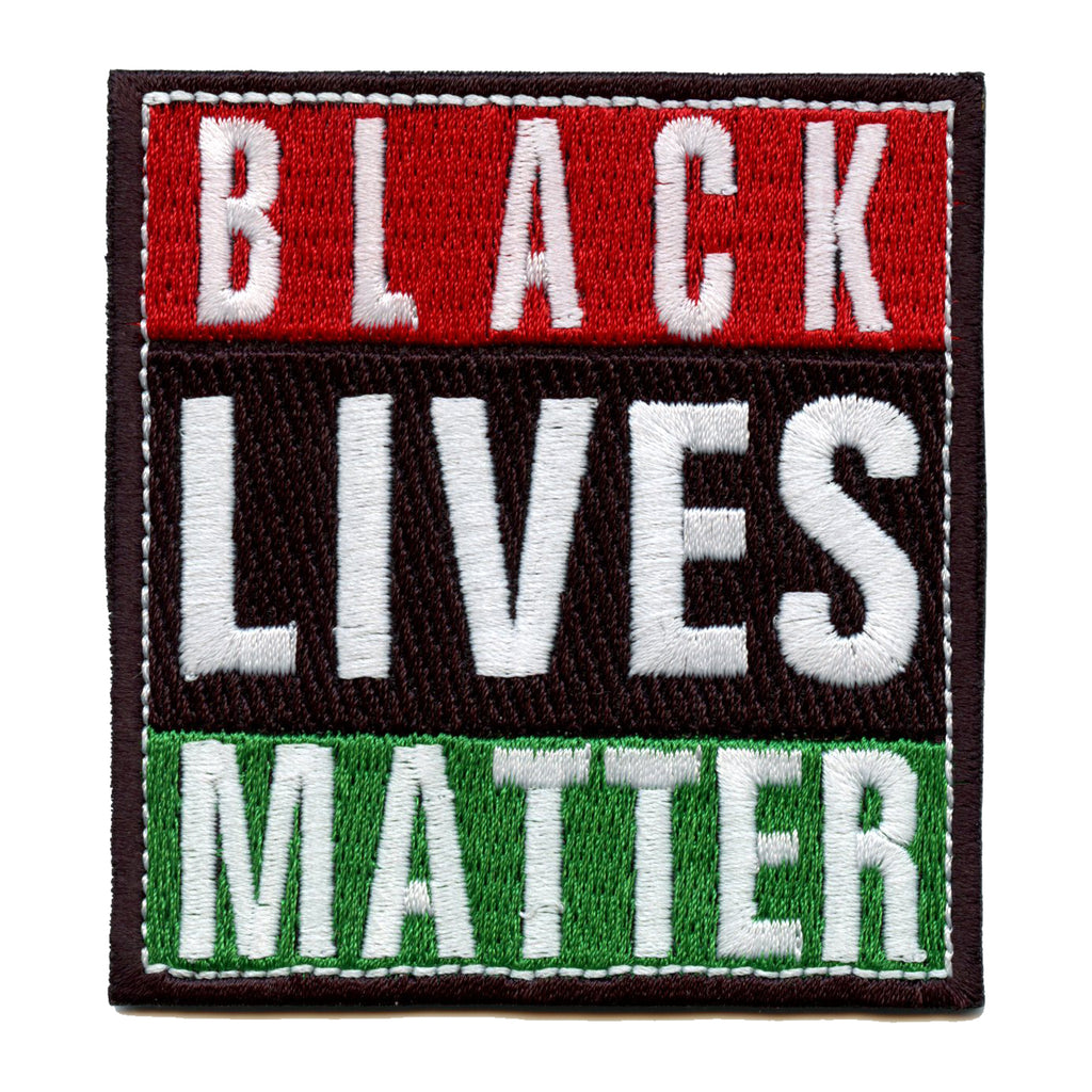 Black Lives Matter Pan-African Colors Box Logo Embroidered Iron On Patch
