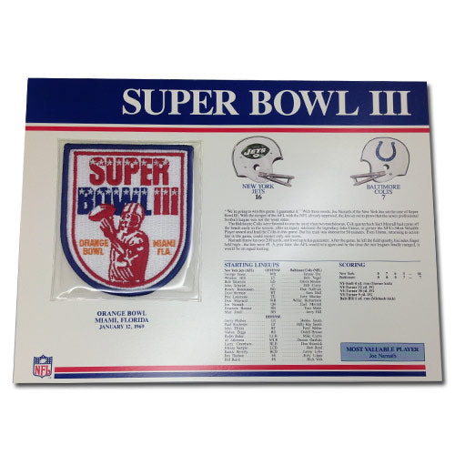 1969 NFL Super Bowl III Logo Willabee & Ward Patch With Header Board (Baltimore Colts vs. New York Jets)