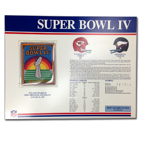 1970 NFL Super Bowl IV Logo Willabee & Ward Patch With Header Board (Kansas City Chiefs vs. Minnesota Vikings)