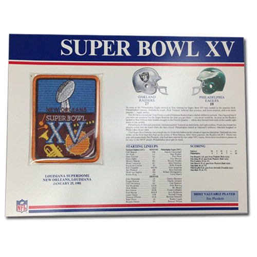 1981 NFL Super Bowl XV Logo Willabee & Ward Patch With Header Board (Oakland Raiders vs. Philadelphia Eagles)