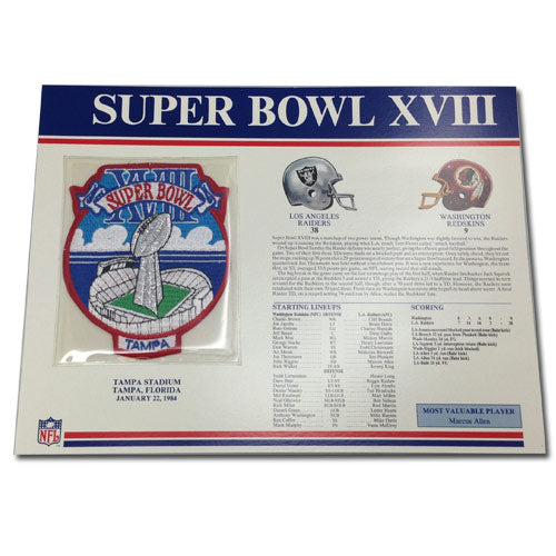 1984 NFL Super Bowl XVIII Logo Willabee & Ward Patch With Header Board (Oakland Raiders vs. Washington Redskins)