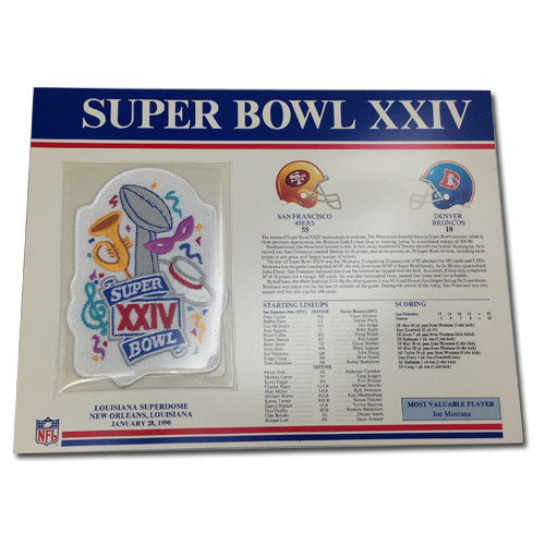 1990 NFL Super Bowl XXIV Logo Willabee & Ward Patch With Header Board (Denver Broncos vs. San Francisco 49ers)