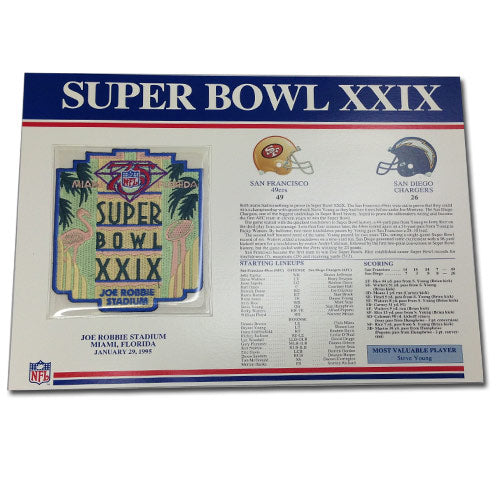 1995 NFL Super Bowl XXIX Logo Willabee & Ward Patch With Header Board (San Diego Chargers vs. San Francisco 49ers)