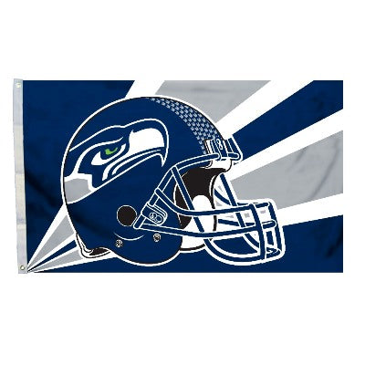 Seattle Seahawks Helmet Design Logo 3' X 5' Flag With Metal Grommets