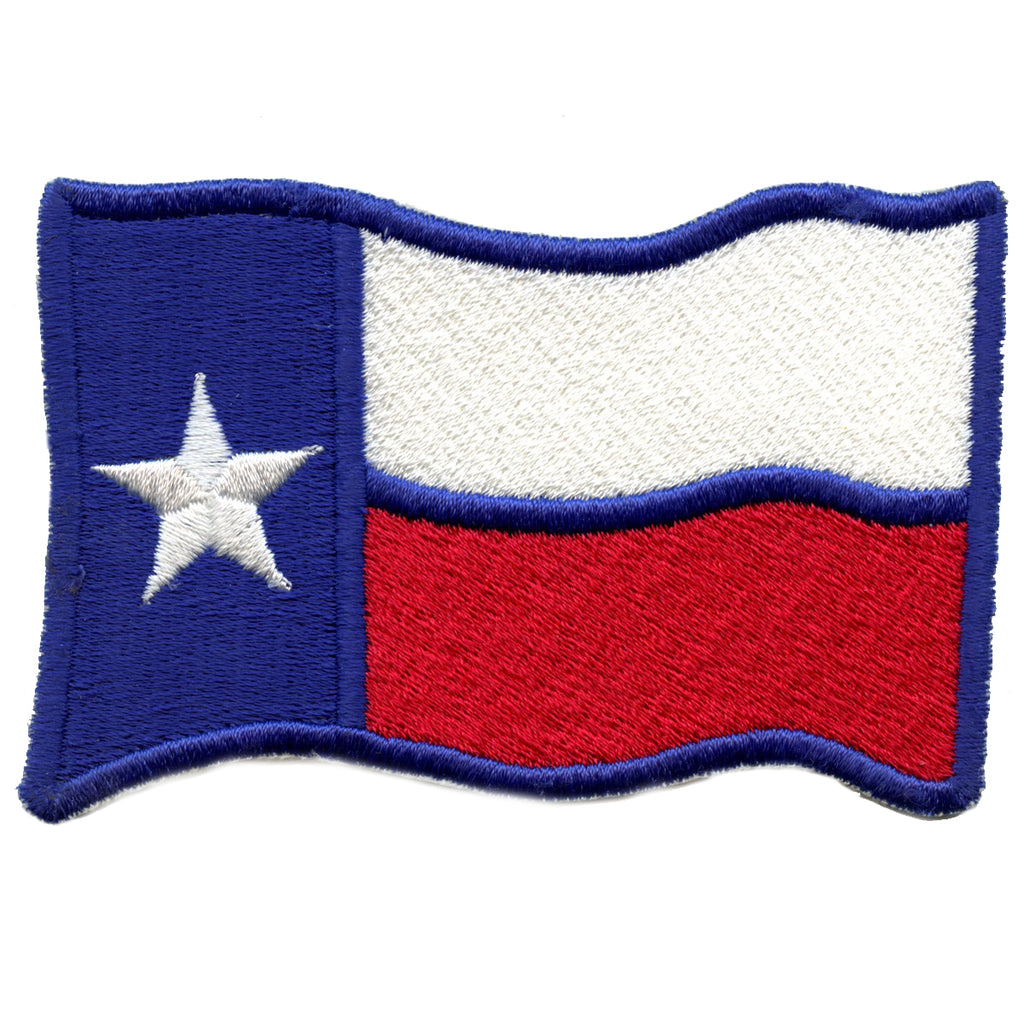 Wavy Texas Flag Iron On Embroidered Patch